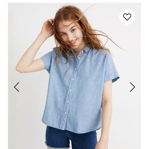 Madewell chambray cropped button down shirt